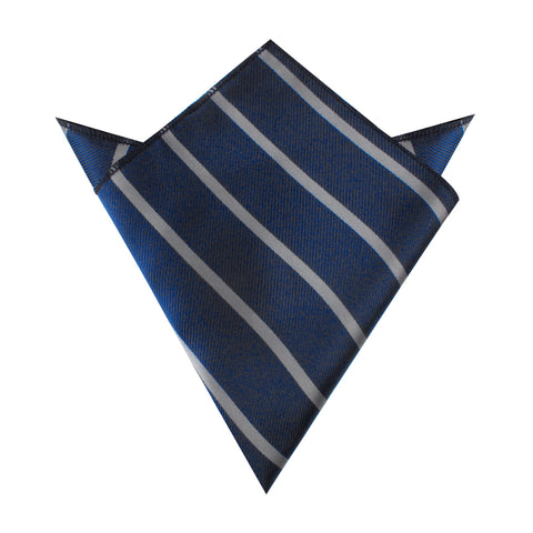 Charcoal Grey Striped Pocket Square