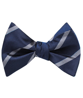 Charcoal Grey Striped Self Bow Tie