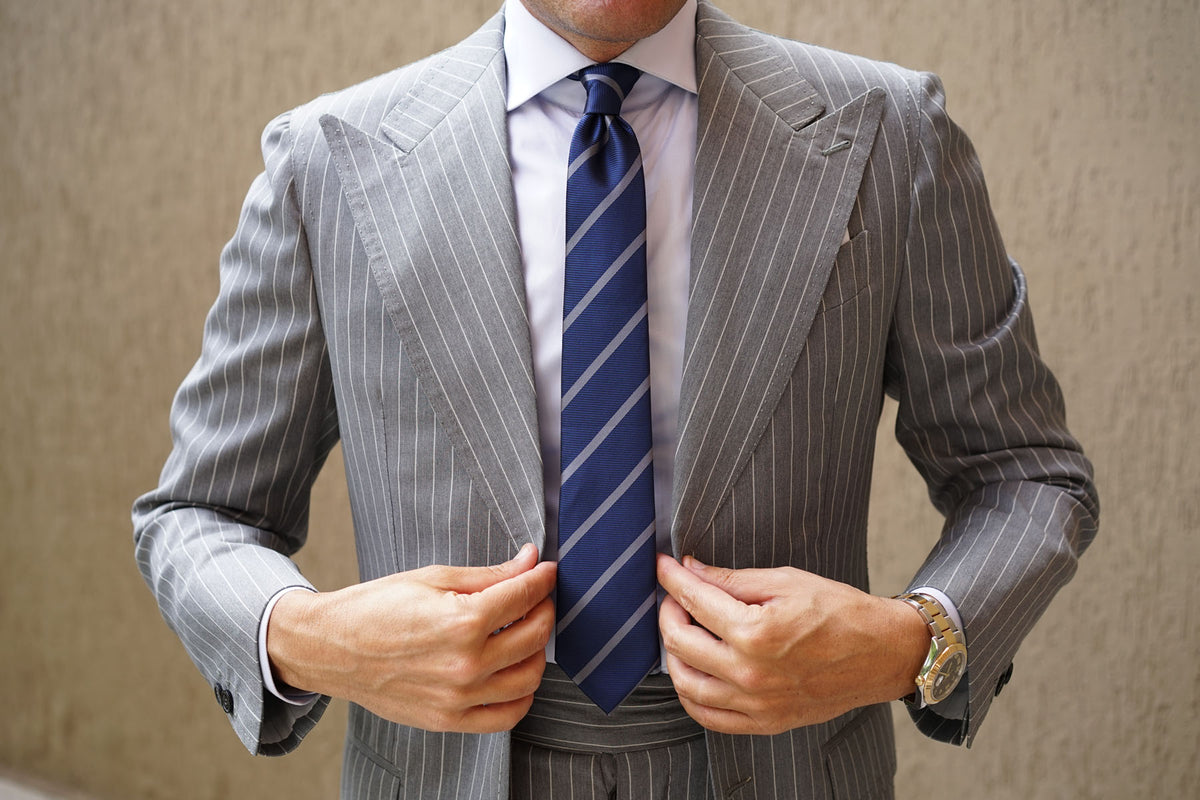 Charcoal Grey Striped Skinny Tie