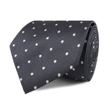 Charcoal Grey with White Polka Dots Necktie Front Roll