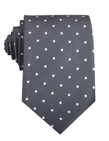 Charcoal Grey with White Polka Dots Necktie