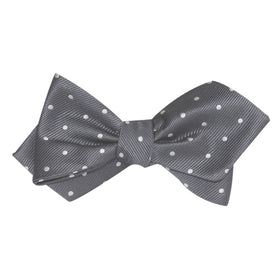 Charcoal Grey with White Polka Dots Self Tie Diamond Tip Bow Tie