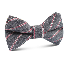 Cherry Red Pinstripe Kids Bow Tie