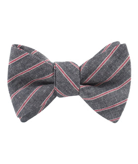 Cherry Red Pinstripe Self Bow Tie