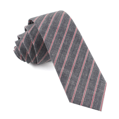 Cherry Red Pinstripe Skinny Tie