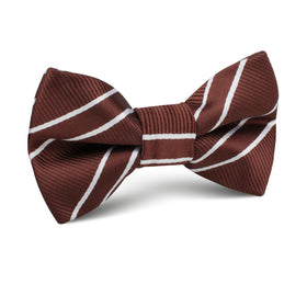 Chocolate Brown Double Stripe Kids Bow Tie