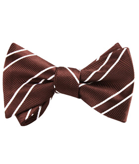 Chocolate Brown Double Stripe Self Bow Tie