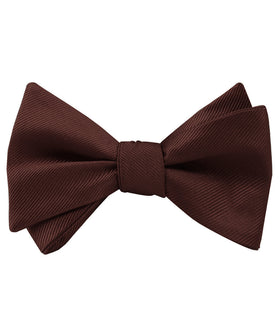 Chocolate Brown Twill Self Bow Tie