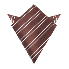 Chocolate Brown Double Stripe Pocket Square