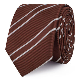 Chocolate Brown Double Stripe Skinny Tie