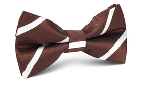 Chocolate Brown Striped Bow Tie