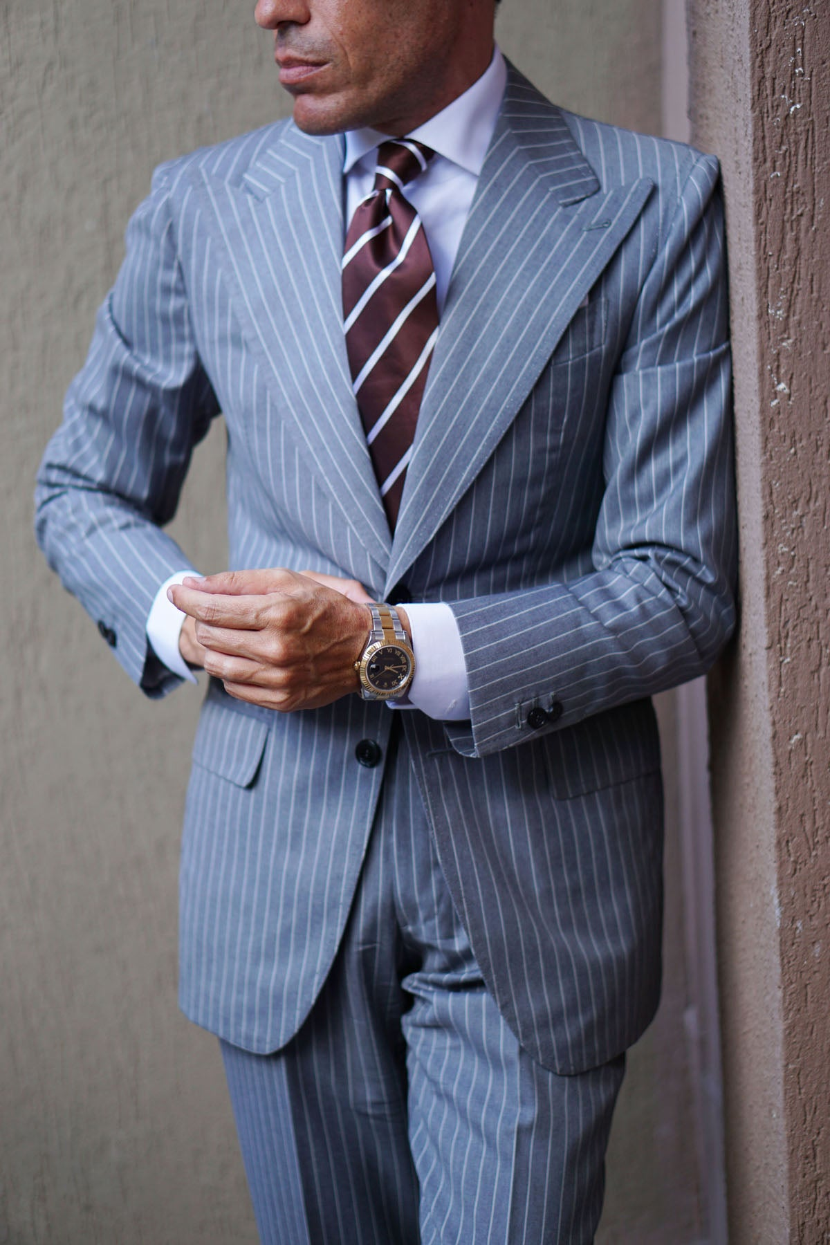 Chocolate Brown Striped Necktie