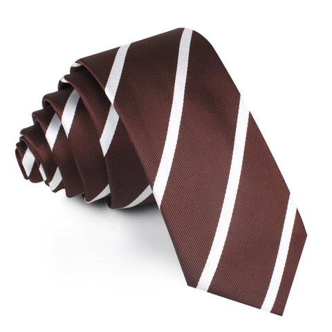 Chocolate Brown Striped Skinny Tie