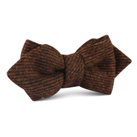 Chocolate Brown Striped Wool Diamond Bow Tie