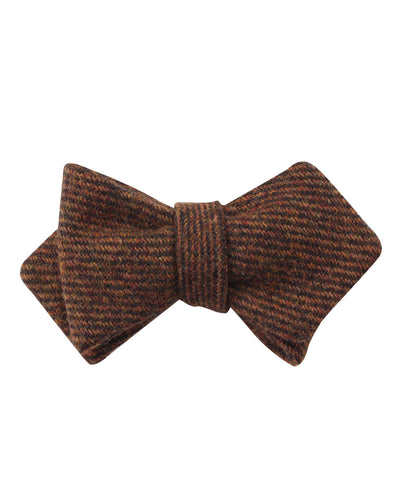 Chocolate Brown Striped Wool Diamond Self Bow Tie