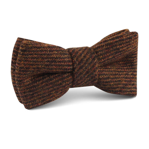 Chocolate Brown Striped Wool Kids Bow Tie