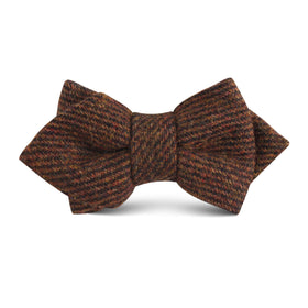 Chocolate Brown Striped Wool Kids Diamond Bow Tie