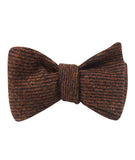 Chocolate Brown Striped Wool Self Tied Bowtie