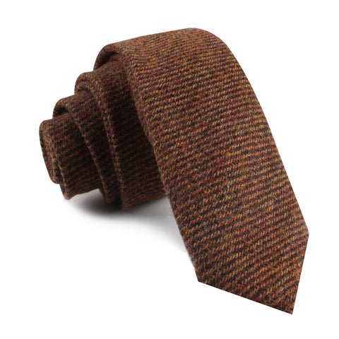 Chocolate Brown Striped Wool Skinny Tie