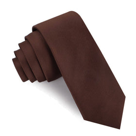 Chocolate Brown Twill Skinny Tie