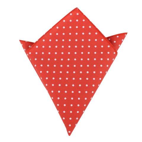 Cinnabar Red with White Polka Dots Cotton Pocket Square