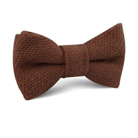 Cinnamon Brown Coarse Linen Kids Bow Tie