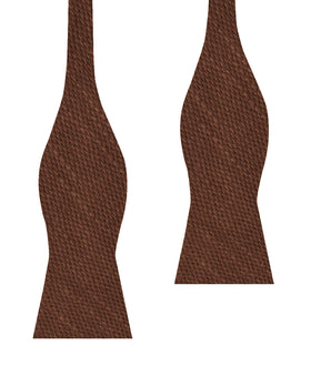 Cinnamon Brown Coarse Linen Self Bow Tie