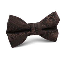 Cinnamon Brown Paisley Kids Bow Tie