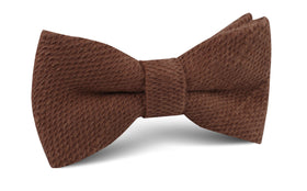 Cinnamon Brown Coarse Linen Bow Tie