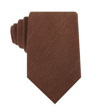 Cinnamon Brown Coarse Linen Necktie