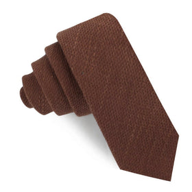 Cinnamon Brown Coarse Linen Skinny Tie