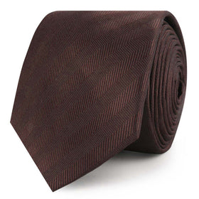Cinnamon Brown Striped Skinny Tie