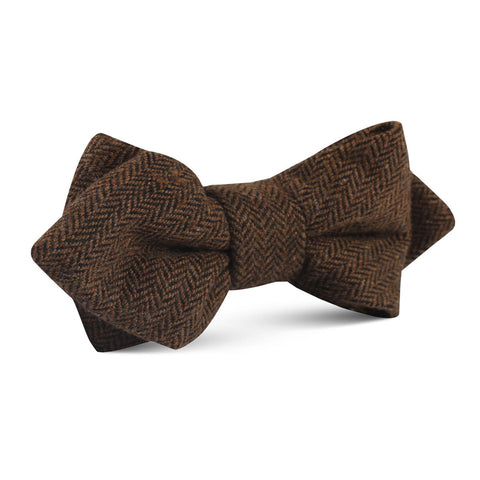 Cinnamon Herringbone Diamond Bow Tie