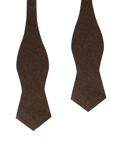 Cinnamon Herringbone Diamond Self Bow Tie