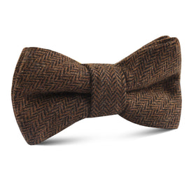 Cinnamon Herringbone Kids Bow Tie