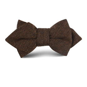 Cinnamon Herringbone Kids Diamond Bow Tie