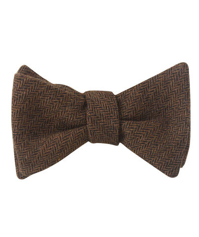 Cinnamon Herringbone Self Bow Tie