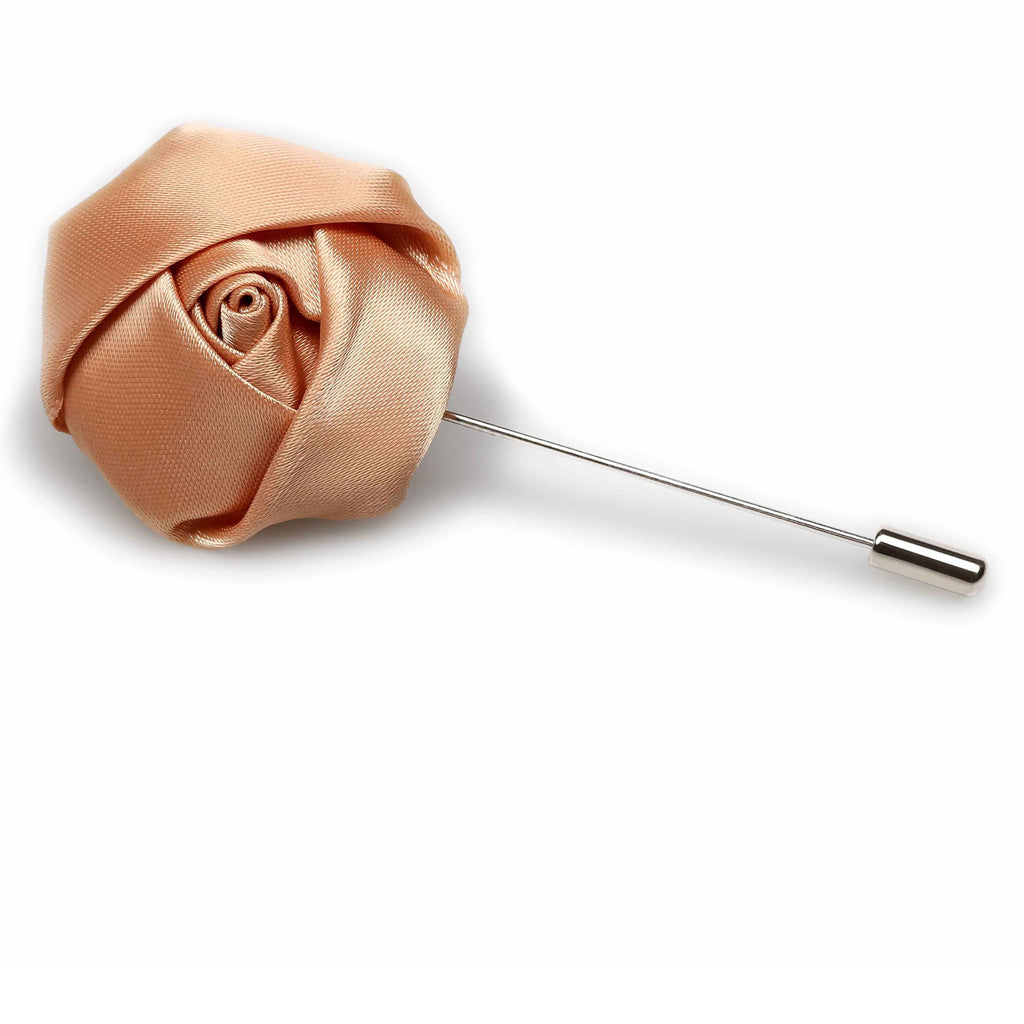 Cinnamon Satin Rose Lapel Pin