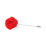 Classic Red Rose Lapel Flower Pin Front Boutonniere