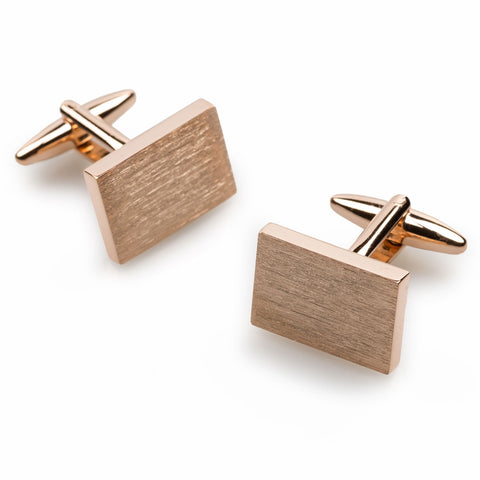 Classic Rose Gold Rectangle Cufflinks