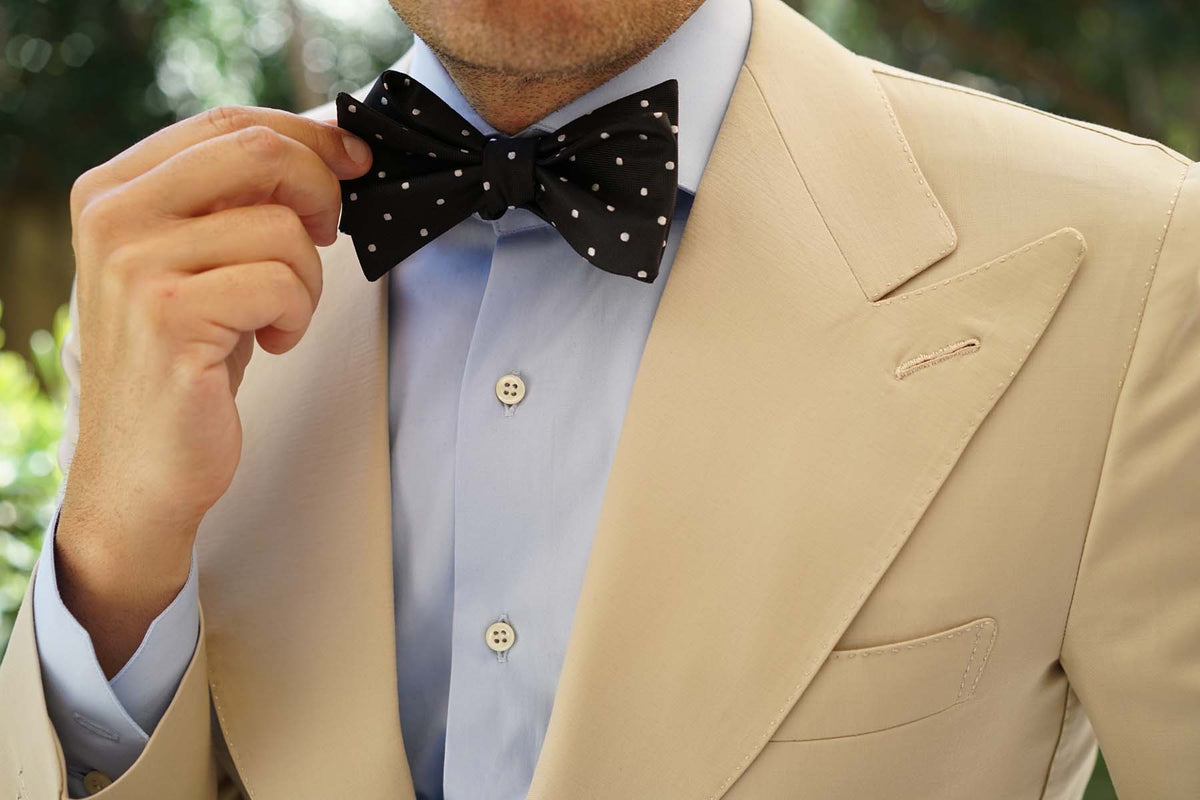Coal Black with White Polka Dots Self Tie Bow Tie
