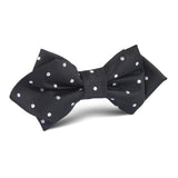 Coal Black with White Polka Dots Diamond Bow Tie