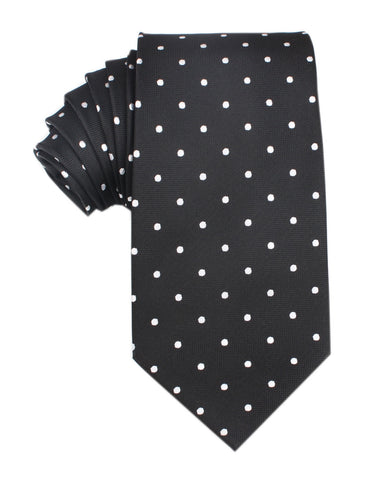 Coal Black with White Polka Dots Necktie
