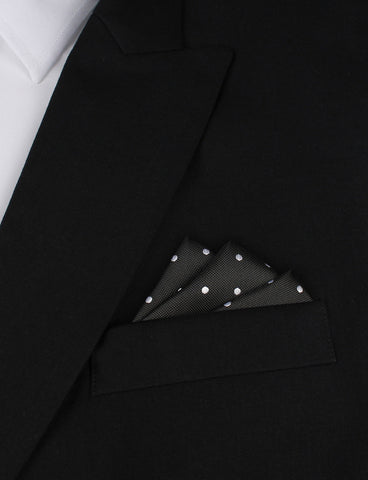 Coal Black with White Polka Dots Pocket Square