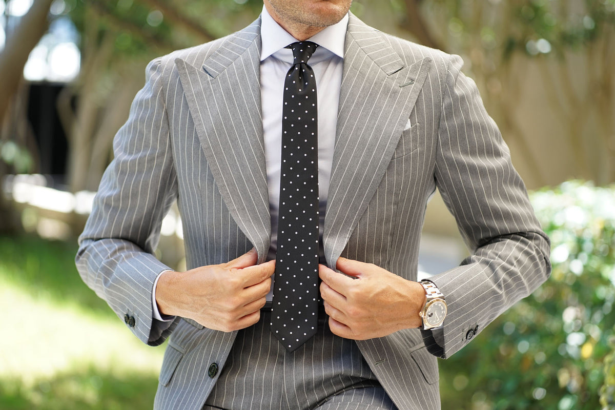 Coal Black with White Polka Dots Skinny Tie