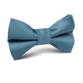 Coastal Blue Satin Kids Bow Tie