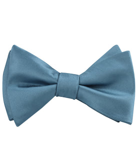 Coastal Blue Satin Self Bow Tie