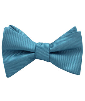 Coastal Blue Twill Self Bow Tie