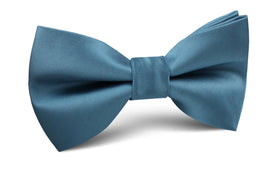 Coastal Blue Satin Bow Tie