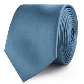Coastal Blue Satin Skinny Tie